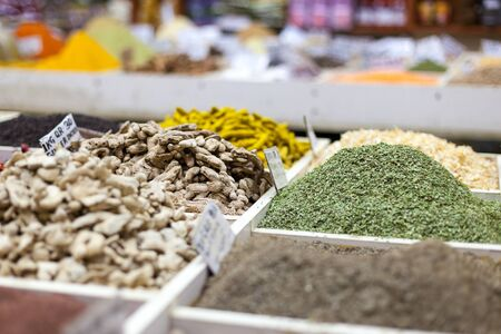 souq: Colorful spices for sale in Souq Wagif - the Old Market. Doha, Qatar, Middle East