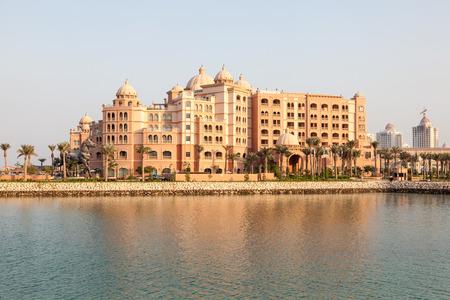 DOHA, QATAR - NOV 19: New luxury 5 star resort hotel Marsa Malaz Kempinski at The Pearl Doha. November 19, 2015 in Doha, Qatar, Middle East