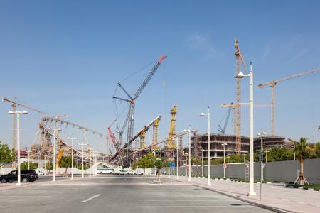 aspire: DOHA, QATAR - NOV 22: The Khalifa Stadium under total renovation in the Aspire Zone of Doha. November 22, 2015 in Doha, Qatar, Middle East