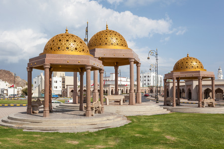 muttrah: Pavilions with golden cupolas in the old town of Muttrah. Muscat, Oman, Middle East