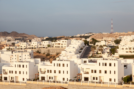 muttrah: Suburb with modern residential houses in Muscat, Sultanate of Oman Editorial