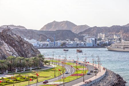 muttrah: Corniche and the old town of Muttrah. Muscat, Sultanate of Oman
