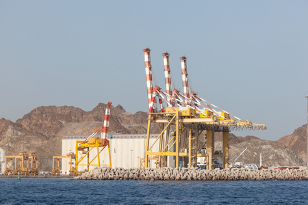 muttrah: Cranes in the industrial port of Muscat, Sultanate of Oman