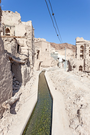 birkat: Aflaj Irrigation System in an old omani village. Nizwa, Sultanate of Oman, Middle East Stock Photo