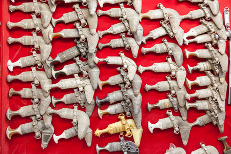 souq: Traditional Omani khanjar knives for sale in the souq of Nizwa. Sultanate of Oman, Middle East Stock Photo