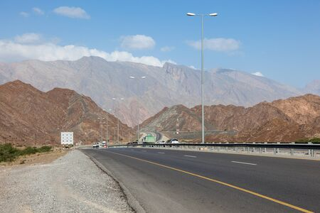 number 15: Highway number 15 road from Muscat to Nizwa. Sultanate of Oman, Middle East Stock Photo