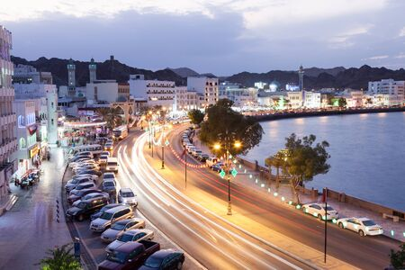 MUTTRAH, OMAN - NOV 24: Corniche in the old town of Muttrah illuminated at night. November 24, 2015 in Muscat, Sultanate of Oman