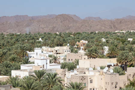 mountainscape: View over the oasis in the city of Nizwa, Sultanate of Oman, Middle East Stock Photo