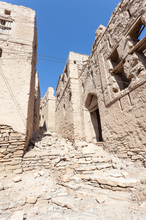 birkat: Ruins of an old omani village in Birkat Al Mouz. Nizwa, Sultanate of Oman, Middle East