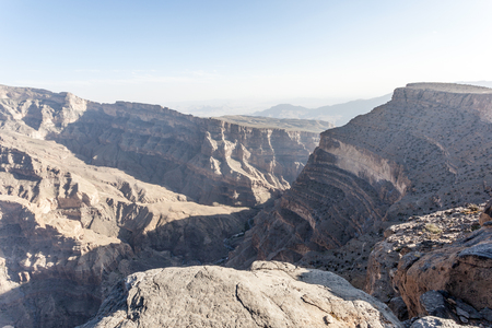 mountainscape: View over the Wadi Ghul (Grand Canyon) in Sultanate of Oman, Middle East