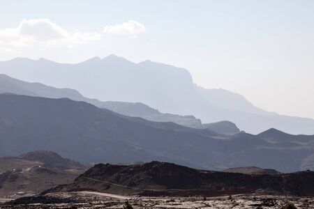 mountainscape: View over the Jebel Shams mountains in Sultanate of Oman, Middle East Stock Photo