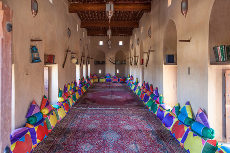 common room: NAKHL, OMAN - NOV 27: Traditional living and common room at the historic Nakhal Fort in Al Batinah Region of Oman. November 27, 2015 in Nakhl, Sultanate of Oman