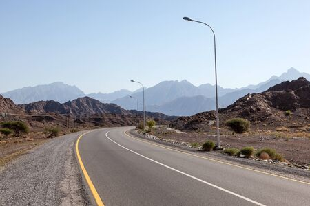 mountainscape: Road in the Hajar mountains, Sultanate of Oman, Middle East