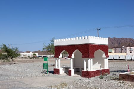 parada de autobus: Bus stop in a small village in Sultanate of Oman, Middle East