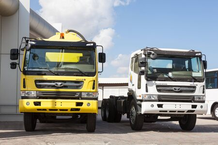 muscat: MUSCAT, OMAN - NOV 28: New Daewoo Novus trucks at a dealership in Muscat. November 28, 2015 in Muscat, Sultanate of Oman, Middle East