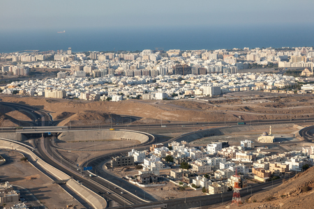 Aerial view over the city of Muscat, Sultanate of Oman, Middle East