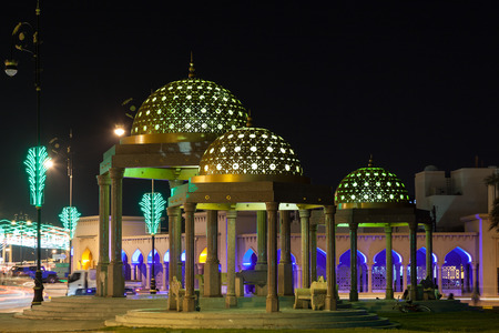 muttrah: Pavilion in the city of Muscat illuminated at night. Sultanate of Oman, Middle East