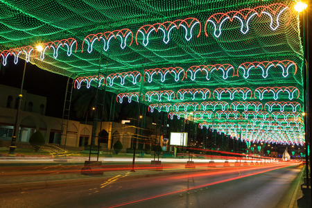 muttrah: Street in Muscat decorated with lights. Oman, Middle East