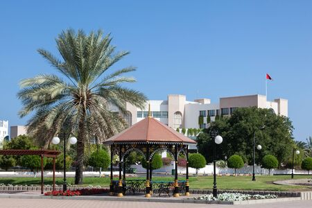 city park pavilion: Pavilion in a city park in Muscat, Sultanate of Oman, Middle East Stock Photo