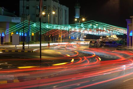 muttrah: Street in Muscat decorated with lights. Sultanate of Oman, Middle East