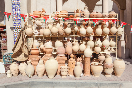 artisanry: Terracotta pots for sale in Nizwa souk. Sultanate of Oman, Middle East