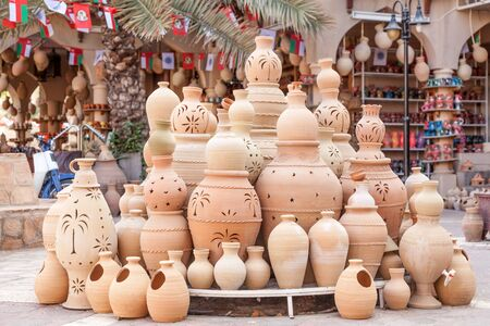Terracotta pots for sale in Nizwa souk. Sultanate of Oman, Middle East
