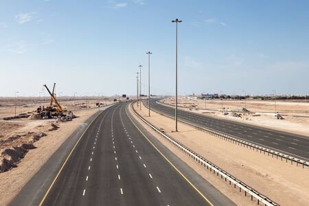 multiple lane highway: New multiple lane highway number one connecting the cities of Al Ruwais and Doha. Qatar, Middle East