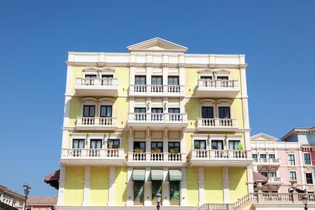 urbanization: Qanat Quartier Urbanization with Italian style architecture at The Pearl in Doha. Qatar, Middle East