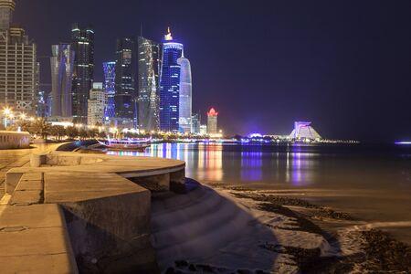 illuminated: Doha downtown illuminated at night. Qatar, Middle East Editorial