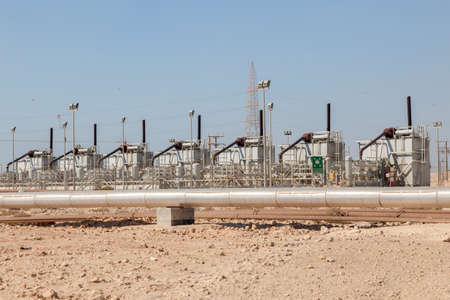 opec: Petrochemical industry facilities in the desert of Bahrain, Middle East