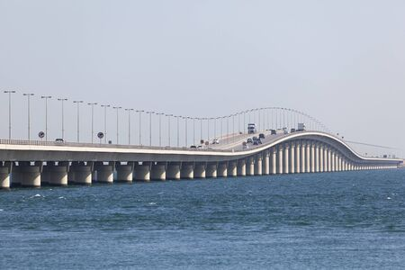 King Fahd Causeway which connects Saudi Arabia and Bahrain. Manama, Kingdom of Bahrain, Middle East