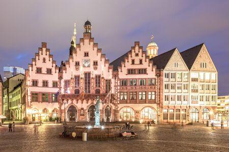 roemerberg: FRANKFURT, GERMANY - MAR 15: Historic buildings at the Roemerberg in Frankfurt illuminated at night. March 15, 2016 in Frankfurt Main, Germany