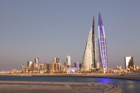 bahrain: MANAMA, BAHRAIN - NOV 14: Bahrain World Trade Center Skyscraper in Manama City. November 14, 2015 in Manama, Kingdom of Bahrain