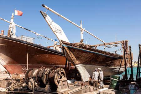 bahrain: MANAMA, BAHRAIN - NOV 14: Dhow boat in a dockyard of Bahrain. November 14, 2015 in Manama, Kingdom of Bahrain, Middle East