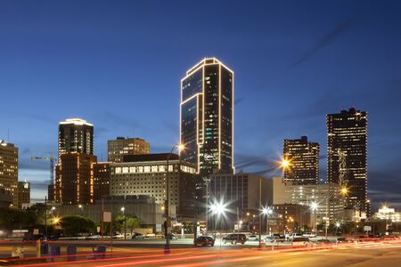 Downtown of Fort Worth illuminated at night. Texas, United States of America Imagens