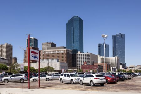 worth: FORT WORTH, TX, USA - APR 6: Highrise buildings in Fort Worth downtown district. April 6, 2016 in Fort Worth, Texas, USA