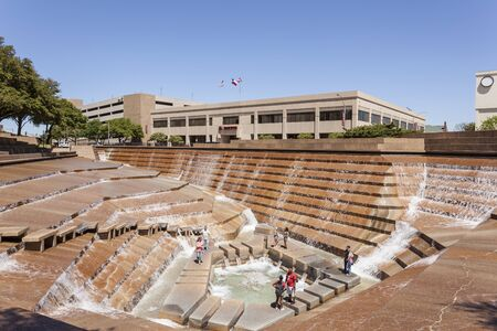 worth: FORT WORTH, TX, USA - APR 6: Water Gardens in the city of Fort Worth. April 6, 2016 in Fort Worth, Texas, USA