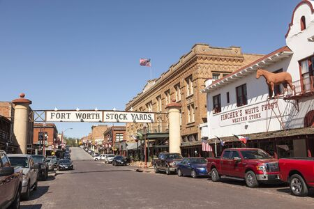 fort worth: FORT WORTH, TX, USA - APR 6: Street in the Fort Worth Stockyards historic district. April 6, 2016 in Fort Worth, Texas, USA