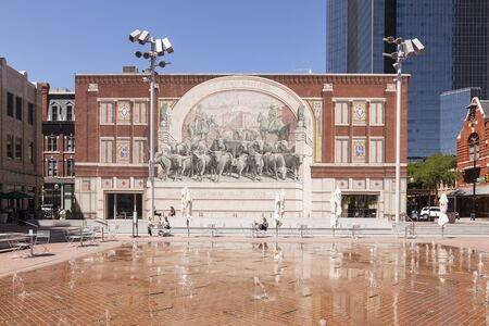 worth: FORT WORTH, TX, USA - APR 6: Chisholm Trail Monument in Fort Worth downtown district. April 6, 2016 in Fort Worth, Texas, USA