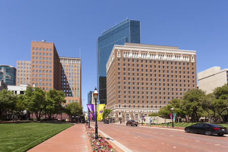 worth: FORT WORTH, TX, USA - APR 6: Street in Fort Worth downtown district. April 6, 2016 in Fort Worth, Texas, USA