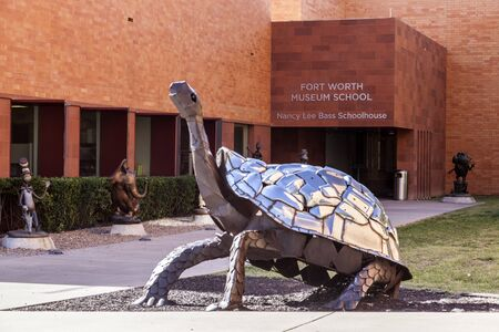 worth: FORT WORTH, TX, USA - APR 6: Sculpture of a giant turtle in front of the Fort Worth Museum School. April 6, 2016 in Fort Worth, Texas, USA Editorial