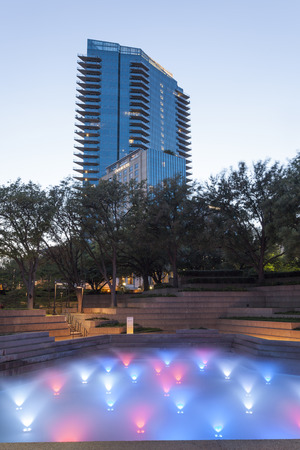 FORT WORTH, TX, USA - APR 6: The Water Gardens in the city of Fort Worth at dusk. April 6, 2016 in Fort Worth, Texas, USA