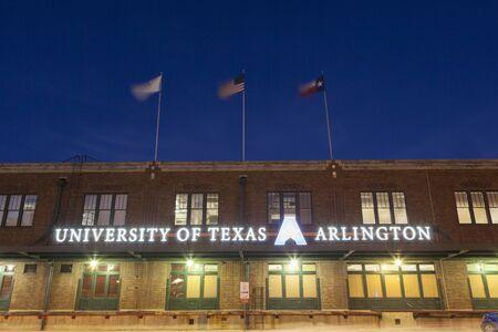 fort worth: FORT WORTH, TX, USA - APR 6: University of Texas Arlington building illuminated at night in Fort Wort. April 6, 2016 in Fort Worth, Texas, USA