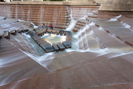 worth: FORT WORTH, TX, USA - APR 6: The Water Gardens in the city of Fort Worth. April 6, 2016 in Fort Worth, Texas, USA