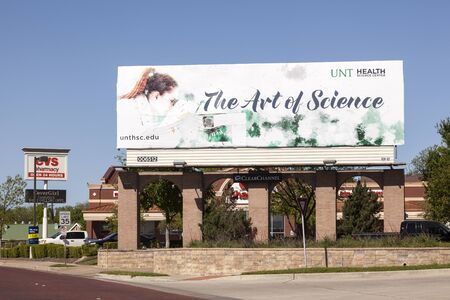 master degree: FORT WORTH, USA - APR 6: The Art of Science - the University of North Texas Health Science Center in Fort Worth advertisement billboard. April 6, 2016 in Fort Worth, Texas, USA Editorial