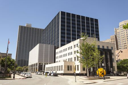 public safety: FORT WORTH, USA - APR 6: Public Safety and Courts building in the city of Fort Worth. April 6, 2016 in Fort Worth, Texas, USA Editorial