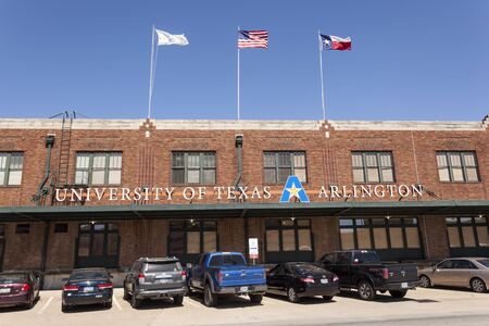 worth: FORT WORTH, USA - APR 6: University of Texas Arlington building in Fort Worth. April 6, 2016 in Fort Worth, Texas, USA