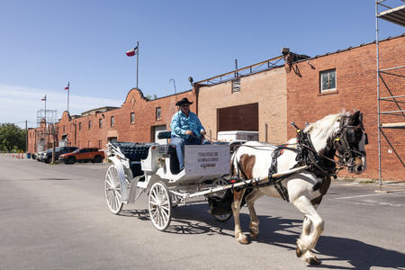 driven: FORT WORTH, USA - APR 6: Horse driven carriage in the Fort Worth Stockyards historic district. April 6, 2016 in Fort Worth, Texas, USA
