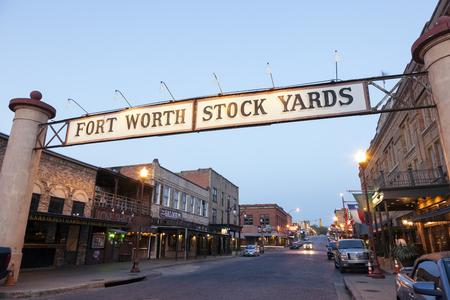 FORT WORTH, TX, USA - APR 6: Street in the Fort Worth Stockyards district illuminated at dusk. April 6, 2016 in Fort Worth, Texas, USA Sajtókép