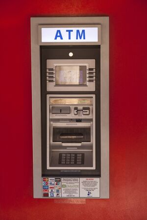 fort worth: FORT WORTH, USA - APR 6: Mini ATM accepting all popular cards in the Fort Worth Stockyards District. April 6, 2016 in Fort Worth, Texas, USA